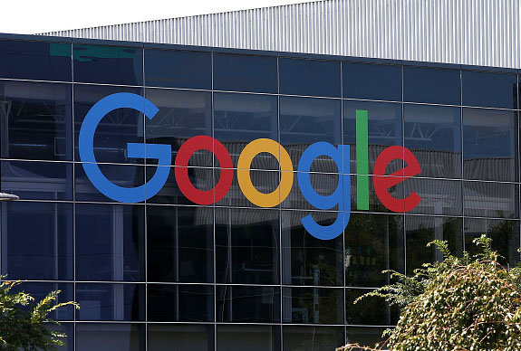 MOUNTAIN VIEW, CA - SEPTEMBER 02:  The new Google logo is displayed at the Google headquarters on September 2, 2015 in Mountain View, California.  Google has made the most dramatic change to their logo since 1999 and have replaced their signature serif font with a new typeface called Product Sans.
