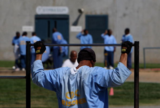 An inmate exercises at the Mule Creek State Prison in Ione, California.