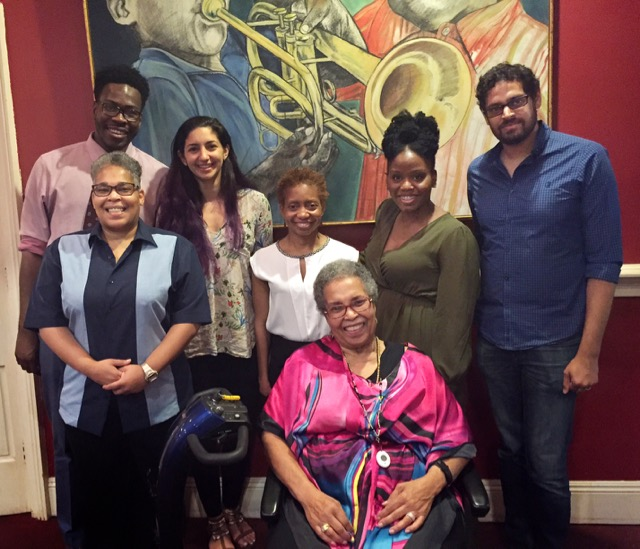Back row: Ida B. Wells Fellows Adeshina Emmanuel and Nadine Sebai, Ida B. Wells fellowship director Kelly Virella, Ida B. Wells Fellows Eseosa Olumhense and Nikhil Swaminathan. Front row: Janean Ferrell and Alfreda Duster Ferrell, the great granddaughter and granddaughter of Ida B. Wells.