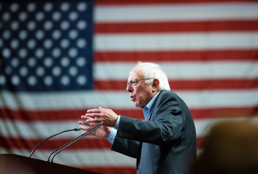 PHOENIX, AZ - JULY 18: U.S. Sen. Bernie Sanders (I-VT) speaks to the crowd at the Phoenix Convention Center July 18, 2015 in Phoenix, Arizona. The Democratic presidential candidate spoke on his central issues of income inequality, job creation, controlling climate change, quality affordable education and getting big money out of politics, to more than 11,000 people attending.