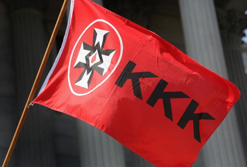 A Ku Klux Klan flies during a demonstration in South Carolina in 2015.