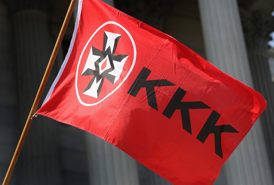 A Ku Klux Klan flies during a demonstration in South Carolina in 2015.