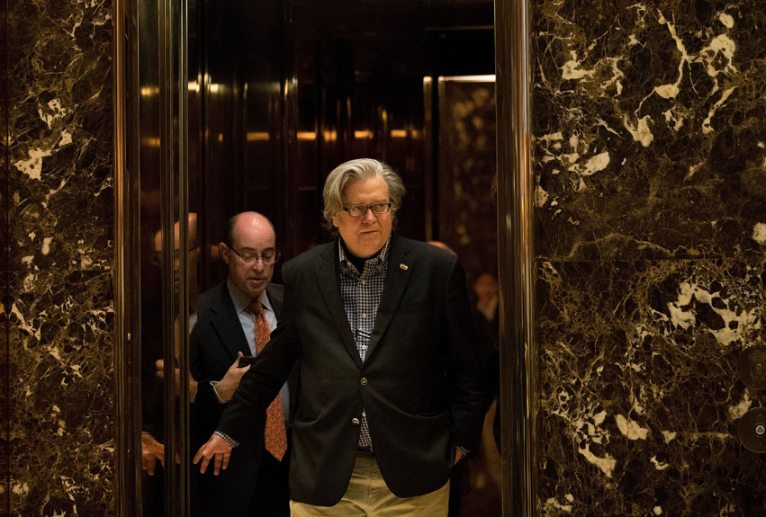 Steve Bannon in the lobby of Trump Tower, November 11, 2016, in New York City.