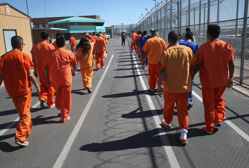 Immigrant detainees at a detention facility in Florence, Arizona.