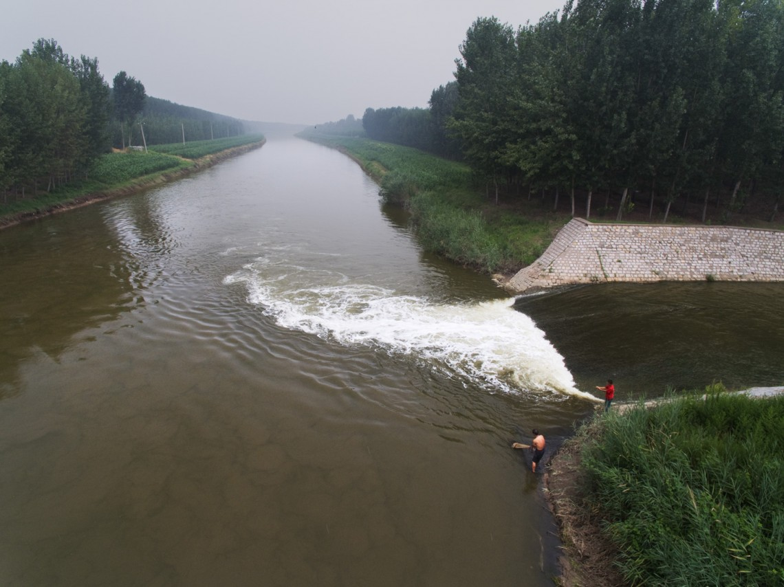 Water collected at the confluence of the Zhulong River and the Xiaoqing River tested very high for PFOA.