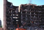 A view of the destroyed Alfred P. Murrah Federal Building in Oklahoma City two days after the bombing in 1995.