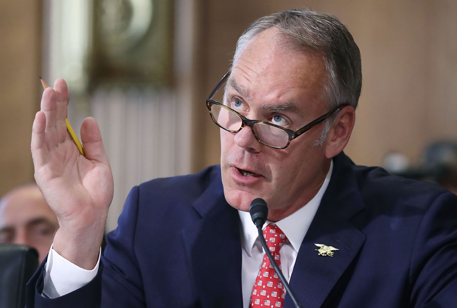 Interior Secretary Ryan Zinke testifies during a Senate Energy and Natural Resources Committee on June 20, 2017, in Washington, DC.