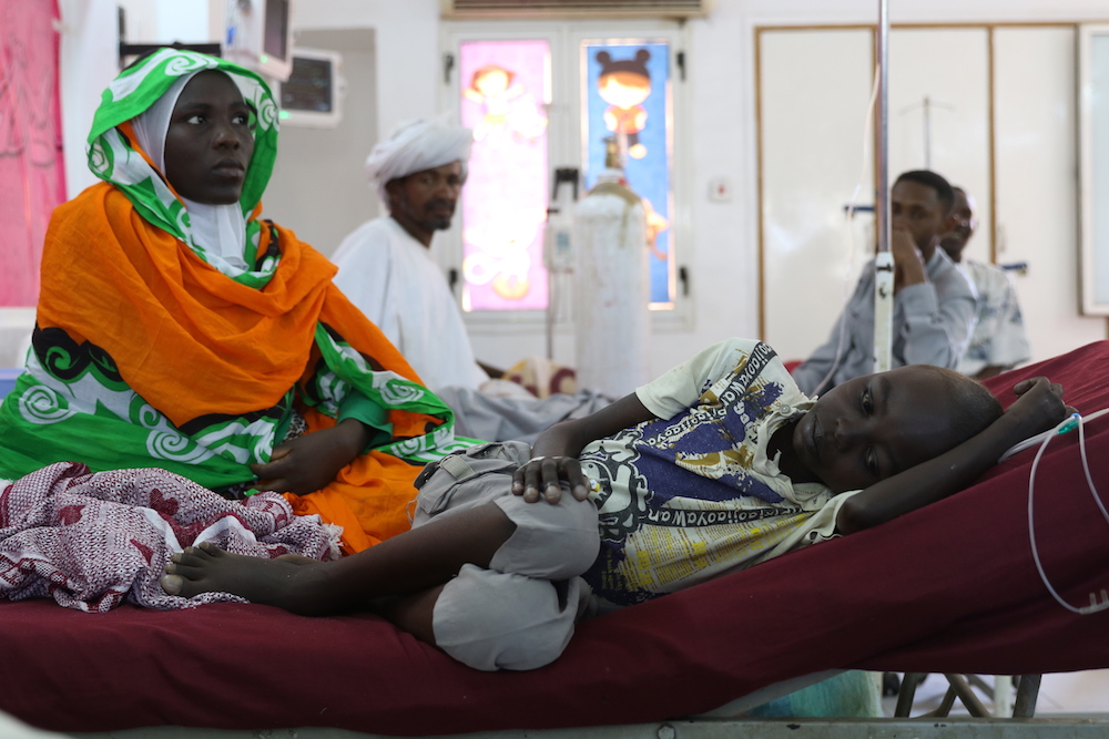 Patients at Jaffar Ibn Ouf children's hospital in Khartoum. Many Sudanese cannot afford the cost of private health care and rely on the declining quality of services offered  by public hospitals.