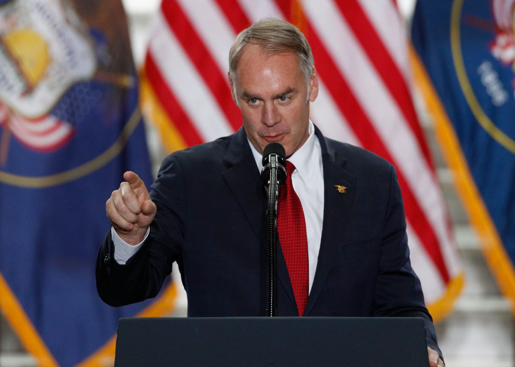 Interior Secretary Ryan Zinke gives a speech before President Trump arrives at the Rotunda of the Utah State Capitol on December 4, 2017.