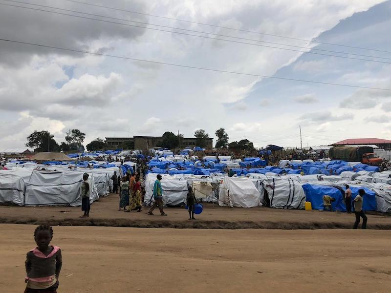 The camp for internally displaced persons in the town of Bunia, Congo. The settlement has grown exponentially in recent weeks as tens of thousands have been driven from their homes by violence in the nearby countryside.